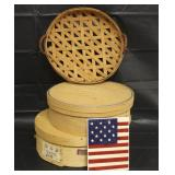 Gerald Henn Basket, Flag Trivet, 2 Cheese Boxes
