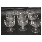 Set of 9 Clear Glass Sherbet Cups