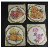 Lot of 4 Floral Wall Plaques