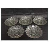 Set of 5 Federal Glass Serving Bowl Dishes