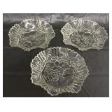 Set of 3 Vintage Clear Glass Fruit Bowl Dishes