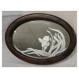 Oval Mirror with Frosted Calla Lillies