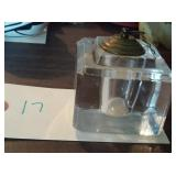heavy old glass inkwell with correct brass lid