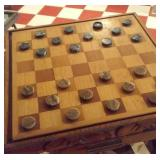carved pine chess or checkers table