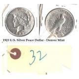 1923 US Peace silver dollar Philadelphia