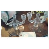 Matching pair lovely glass double candlesticks