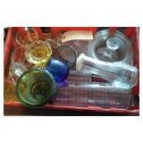 box lot of vintage glass some colored