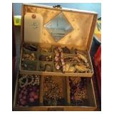 very old jewelry box w mirror and contents