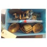 tote full of brass and cast iron items