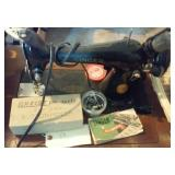 Old singer sewing machine w pedal buttonholer more