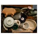 boxlot pottery porcelain pig candleholders vases