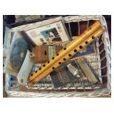 musical boxlot 2 old wooden flutes harmonica more
