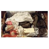 large flat of old linens and crochet etc