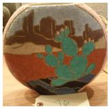 """8.5"""" Southwest sand pottery vase prickly pear"""