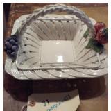 """10"""" Capodimonte Italy white basket w fruit"""
