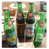 4 old green 7up green bottles 2 Notre Dame 1 1976