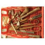 box lot of rusty old tools tin snips punch brush