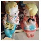 kissing boy girl salt pepper shakers shelf sitting