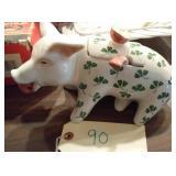 "10"" porcelain pig jar w/ lucky clover made ITALY"