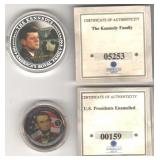 American Mint medallions Kennedy Lincoln COAs