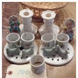 Box porcelain Occupied Japan, pottery knife rests