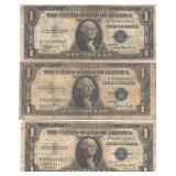 "3 blue seal 1935 silver certificates 2 ""A"" 1 ""D"""