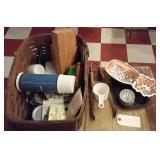 vintage picnic basket w kitchen molds thermos jars