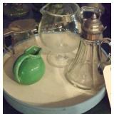 Lot of 4 - USA ball jug, 2 syrup pitchers, crystal