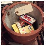 old red wooden bucket w playing cards