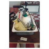 old white porcelain sink w 4 plastic sprayers