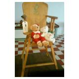 Old vintage wooden high chair w lamb 2 Boyds Bears