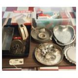 kitchen lot - cutters, pans, egg beater, strainers