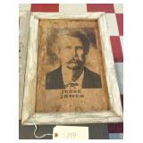 13x19 Western art in barnwood frame - JESSE JAMES