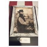 13x19 Western art barnwood frame - CLINT EASTWOOD