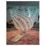 """Huge 9"""" victorian artisan art glass pedestal bowl"""