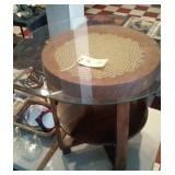 English oak tiered parlor table wiht glass top