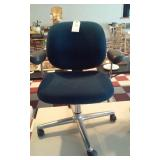 Rolling blue steno office chair on aluminum base