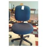 rolling blue steno office chair black base