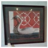 ART Huge framed print of quilt and swan signed