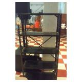 4 tier black metal shelf unit