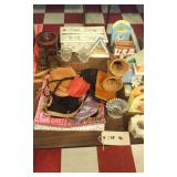 Old crock, angels, Fostoria glass, lots of purses