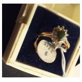 beautiful ring w genuine jade marked 18k HGE sz 6
