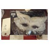 white feathered owl mask Mardi Gras costume party