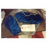 Ladies blue satin handbag w matching gloves