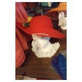 ladies red flannel hat w flowers