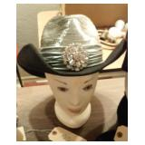 ladies fancy black and silver cowgirl hat