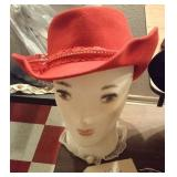 ladies red felt cowgirl hat w red lace