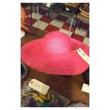 ladies red sun hat