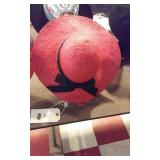 ladies red sun hat with black ribbon