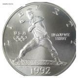 1992-D Olympiad silver dollar w baseball pitcher